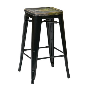 Bristow Black and Ash Cameron 26-Inch High Antique Metal Barstool with Vintage Wood Seat, Set of 4