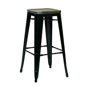 Bristow Black and Ash Cameron 30-Inch High Antique Metal Barstool with Vintage Wood Seat, Set of 4