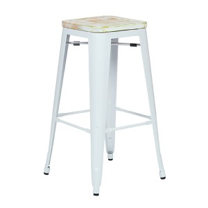 Bristow White and Pine Irish 30-Inch High Antique Metal Barstool with Vintage Wood Seat, Set of 2