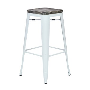 Bristow White and Ash Crazy Horse 30-Inch High Antique Metal Barstool with Vintage Wood Seat, Set of 2