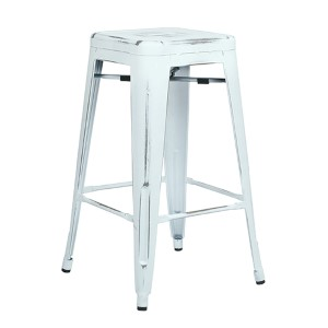 Bristow Antique White 26-Inch High Metal Barstool, Set of 4