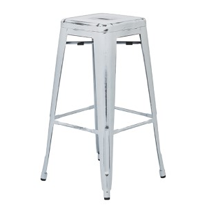 Bristow Antique White 30-Inch High Metal Barstool, Set of 2