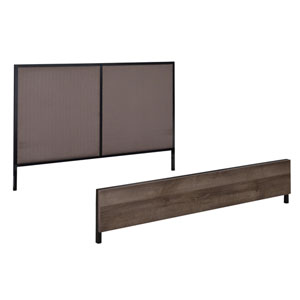 Braydon Headboard and Footboard for a Queen Size Bed in Oak Laminate with Matte Black Coating