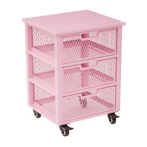 Clayton 3 Drawer Rolling Cart in Pink Metal Finish Frame