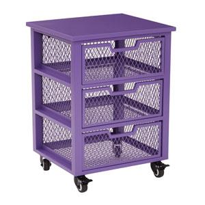 Clayton 3 Drawer Rolling Cart in Purple Metal Finish Frame