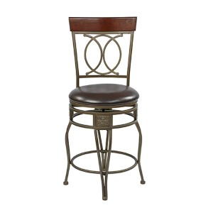 Cosmo Espresso 40-Inch High Metal Swivel Barstool with Faux Leather Seat and Flared Legs