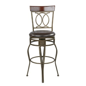 Cosmo Espresso 30-Inch High Metal Swivel Barstool with Faux Leather Seat and Flared Legs