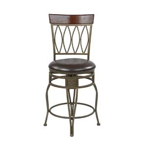 Cosmo Espresso 40 Inch High Metal Swivel Barstool With Faux Leather Seat
