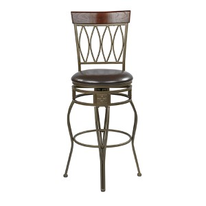 Cosmo Espresso 46.25-Inch High Metal Swivel Barstool with Faux Leather Seat