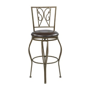 Cosmo Espresso 44.5-Inch High Metal Swivel Barstool with Faux Leather Seat