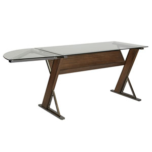 Eureka Small Desk Corner Unit with Carmel Wood and Black Nickel Metal