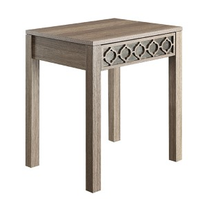 Helena Greco Oak End Table with Mirror Accent Panel