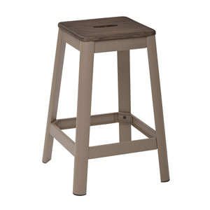 Hammond 26-Inch Metal Barstool with Dark wood Seat and Frosted Cappuccino Frame Finish Kd