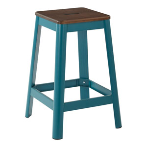 Hammond 26-Inch Metal Barstool with Dark wood Seat and Frosted Teal Frame Finish Kd