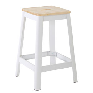 Hammond 26-Inch Metal Barstool with Lightwood Seat and Frosted White Frame Finish Kd