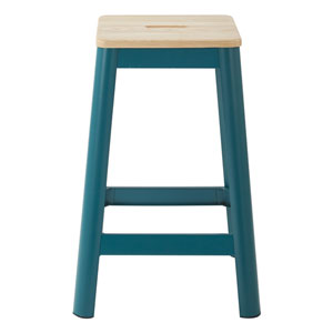 Hammond 26-Inch Metal Barstool with Lightwood Seat and Frosted Teal Frame Finish Kd