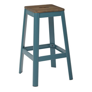 Hammond 30-Inch Metal Barstool with Dark wood Seat and Frosted Teal Frame Finish Kd