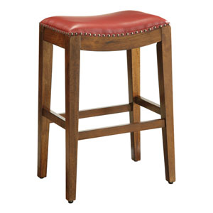 Metro 29-Inch Saddle Stool with Nail Head Accents and Espresso Finish Legs with Cranberry Bonded Leather
