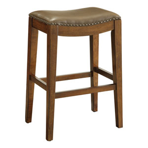 Metro 29-Inch Saddle Stool with Nail Head Accents and Espresso Finish Legs with Molasses Bonded Leather