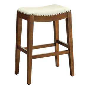 Metro 29-Inch Saddle Stool with Nail Head Accents and Espresso Finish Legs with Cream Bonded Leather