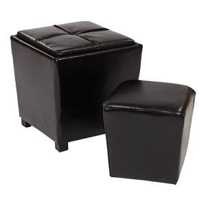 Metro Black Eco Leather Two-Piece Ottoman Set