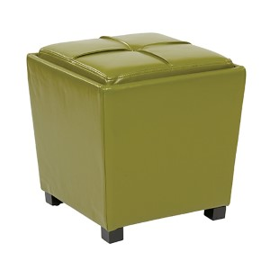 Metro Kiwi Green Eco Leather Two-Piece Ottoman Set