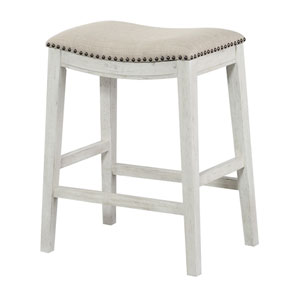 Saddle Stool 24-Inch in Beige Fabric and Antique White Base and Antique Bronze Nailheads 2-Pack