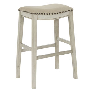 Saddle Stool 30-Inch in Beige Fabric and Antique White Base 2-Pack