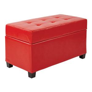 Vinyl Storage Ottoman in Red