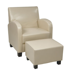 Metro Cream Club Chair with Ottoman