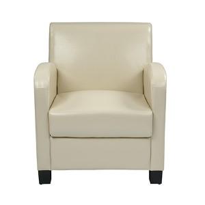 Metro Cream Eco Leather Club Chair with Espresso Legs