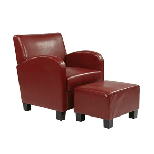 Metro Crimson Red Faux Leather Club Chair with Ottoman