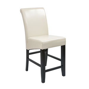24-Inch Parsons Barstool, with Cream Bonded Leather