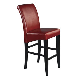 30-Inch Parsons Red Bonded Leather Barstool
