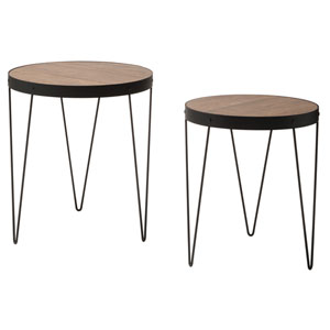 Pasadena Nesting Accent Tables Set with Rustic Calico Wood Top and Matte Black Frame, Set of 2
