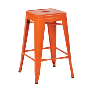 Patterson Orange 24-Inch Steel Barstool, Set of 2