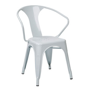 Patterson White 30-Inch Metal Chair, Set of 2