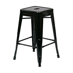 Patterson Black 24-Inch High Steel Backless Barstool, Set of 2