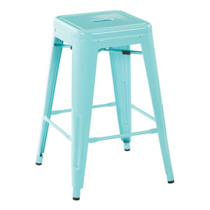 24-Inch Steel Backless Barstool in Mint Green, Set of 4