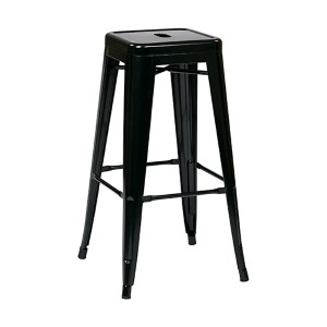 Patterson Black 24-Inch High Steel Backless Barstool, Set of 4