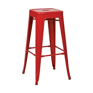 Patterson Red 24-Inch High Steel Backless Barstool, Set of 4