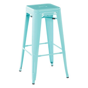 30-Inch Steel Backless Barstool in Green Finish, Set of 4
