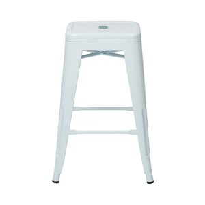 Patterson White 24-Inch High Steel Backless Barstool, Set of 2