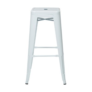 Patterson White 24-Inch High Steel Backless Barstool, Set of 4