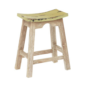24-Inch Saddle Stool with White Wash Base and Rustic Sage Seat