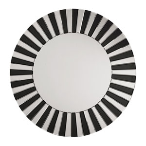 Black Striped Round Wall Mirror