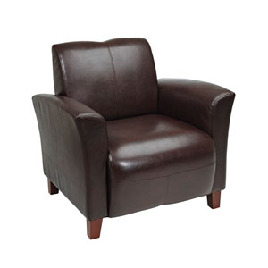 Mocha Eco Leather Breeze Club Chair with Cherry Finish Legs