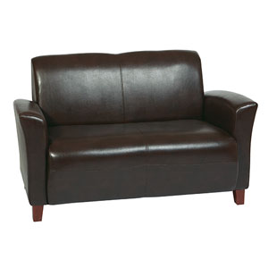 Mocha Eco Leather Love Seat with Cherry Finish Legs