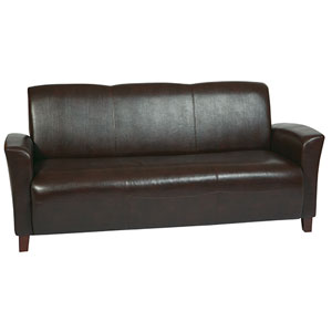 Mocha Eco Leather Sofa with Cherry Finish Legs