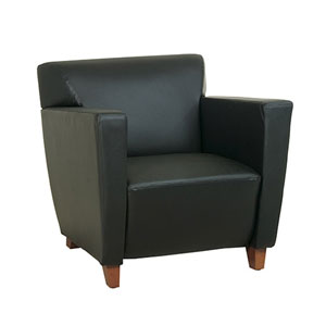 Black Leather Club Chair with Cherry Finish